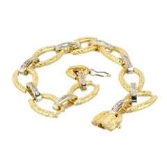 .60 Carat Diamond Gold Textured Link Bracelet