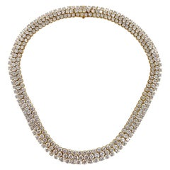 60 Carat Diamond Three Row 18 Karat Yellow Gold Choker Necklace