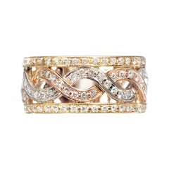 0.60 Karat Diamant dreifarbiges Infinity Offener Reifen Band Ring