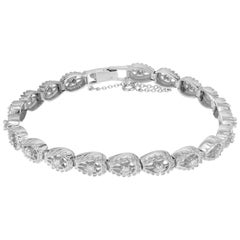 .60 Carat Diamond White Gold Horseshoe Link Bracelet