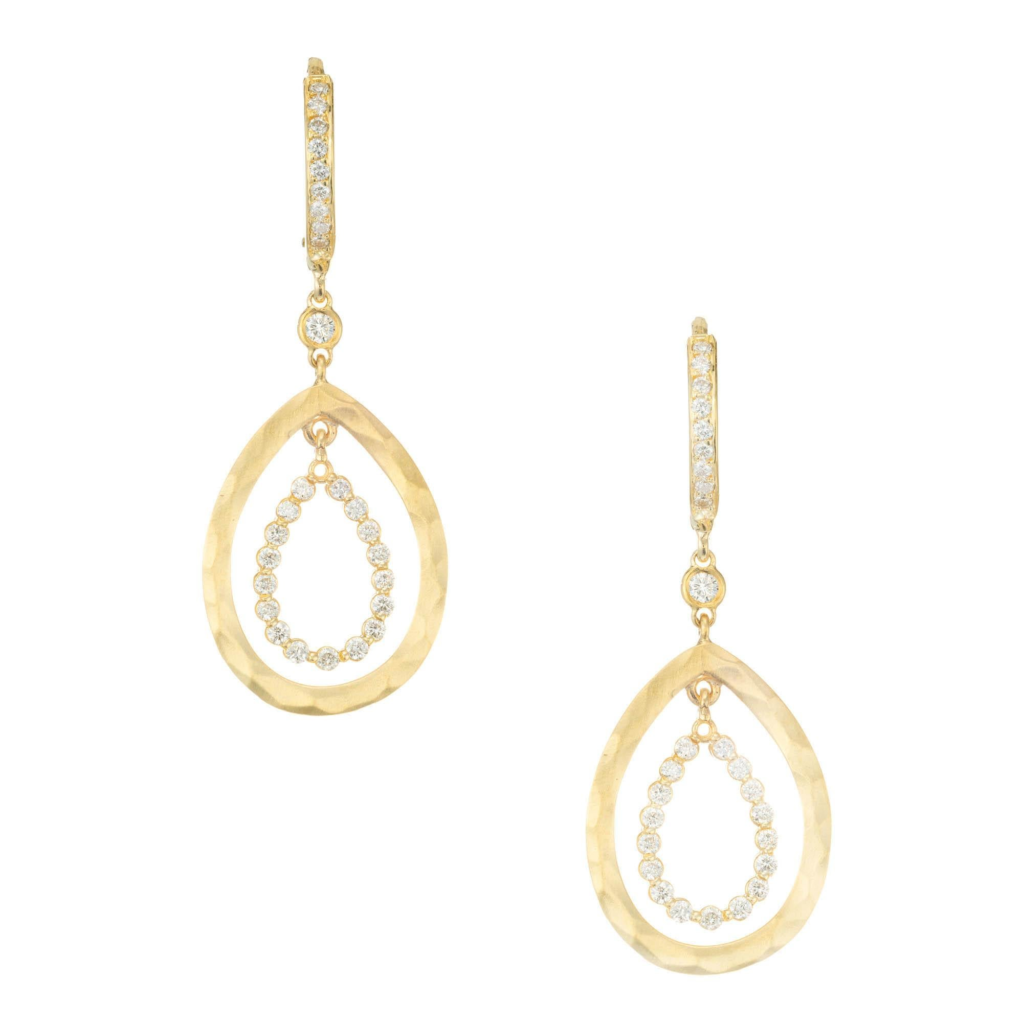 .60 Carat Diamond Yellow Gold Open Dangle Earrings