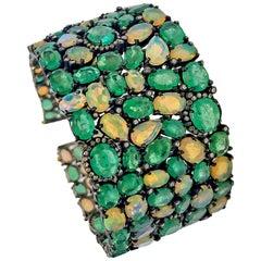 60 Carat Emerald 26 Carat Opal 1 Carat Diamond Art Deco Silver and Gold Bracelet