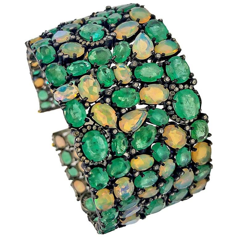 60 Carat Emerald 26 Carat Opal 1 Carat Diamond Art Deco Silver and Gold Bracelet For Sale