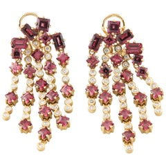 6.0 Carat Garnet and Diamond Chandelier Earrings in Yellow Gold with Cert