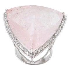 60 Carat Morganite Diamonds 18 Karat White Gold Cocktail Ring