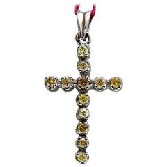 .60 Carat Natural Fancy Yellow Diamonds Cross Pendant 14 Karat