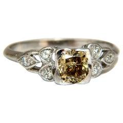 .60 Carat Natural Yellow Green Brown Diamond Vintage Gilt Ring Platinum