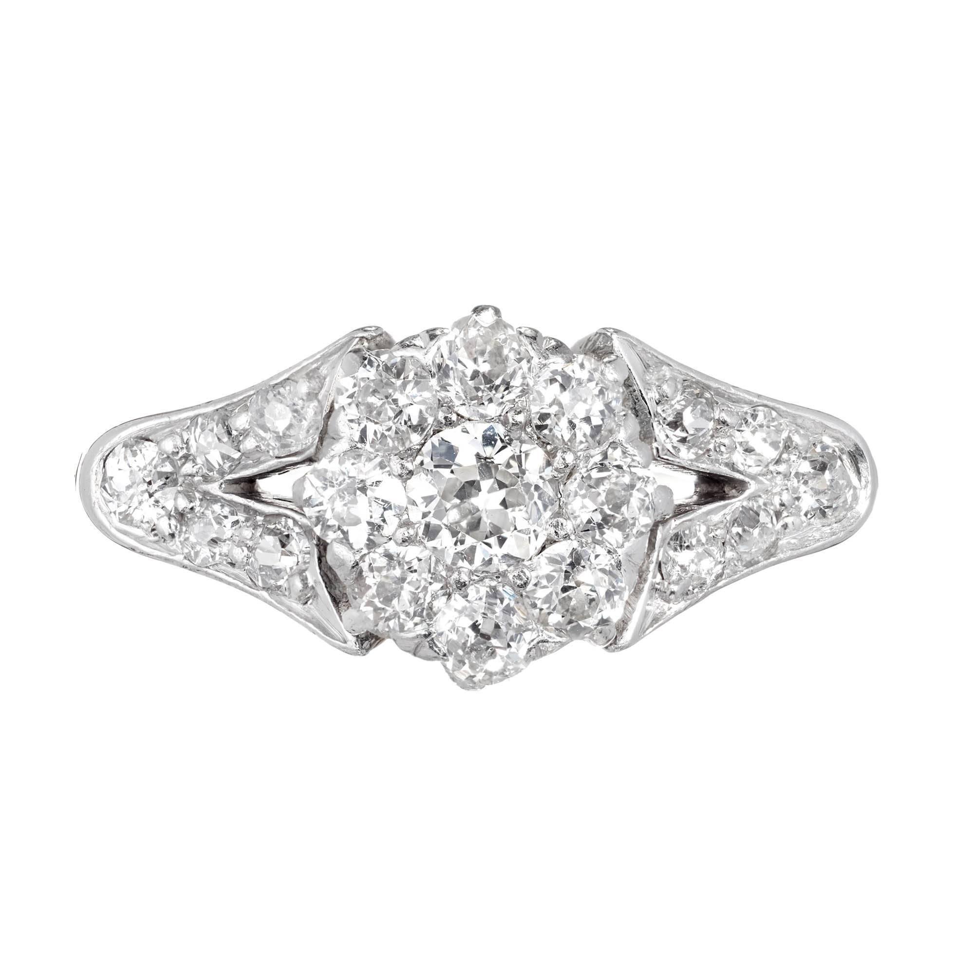 .60 Carat Old Mine Diamond Gold Platinum Cluster Victorian Engagement Ring