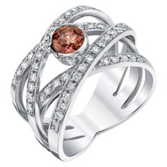 .60 ct. Padparadscha Sapphire, Diamond 18k White Gold Bezel Wraparound Band Ring