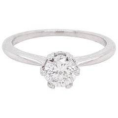 .60 Carat Round Diamond Platinum Solitaire Hidden Halo and Heart Prongs