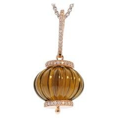 60 Carat Smoky Quartz Gemstone and Diamond Pendant Necklace in 14 Karat Gold