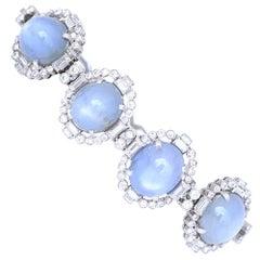 60 Carat Star Sapphires Cabochon Platinum Diamonds Bracelet, 1940