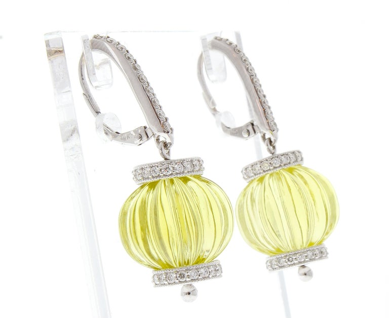 Contemporary 60 Carat Total Lemon Quartz and Diamond Earrings in 14 Karat White Gold For Sale