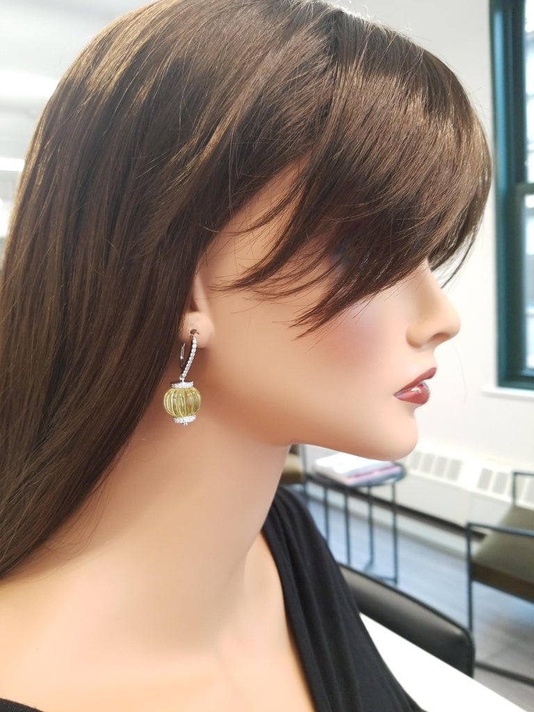 60 Carat Total Lemon Quartz and Diamond Earrings in 14 Karat White Gold In New Condition For Sale In Chicago, IL