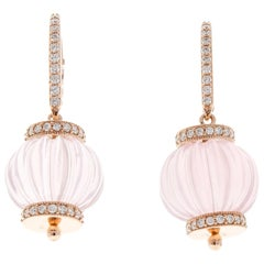 60 Carat Total Rose Quartz and Diamond Lever Back Earrings in 14 Karat Rose Gold