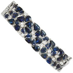 60 Carat TW Blue Sapphire Diamond Bracelet Mod 1960s Midcentury Estate Vintage