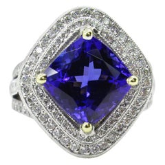6.0 Carat Vintage Cushion Natural Dark Tanzanite Diamond Platinum 18 Karat Ring