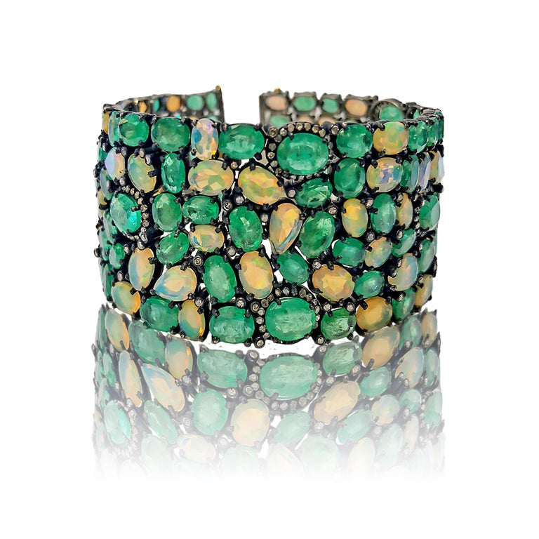 60 Carat Emerald 26 Carat Opal 1 Carat Diamond Art Deco Silver and Gold Bracelet In Excellent Condition For Sale In Jackson Heights, NY