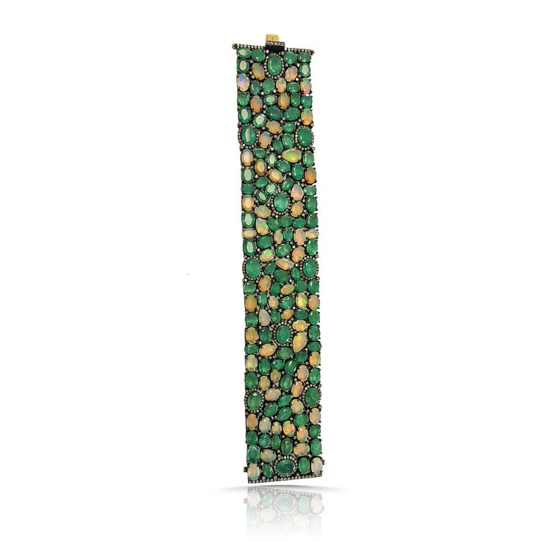 Women's 60 Carat Emerald 26 Carat Opal 1 Carat Diamond Art Deco Silver and Gold Bracelet For Sale