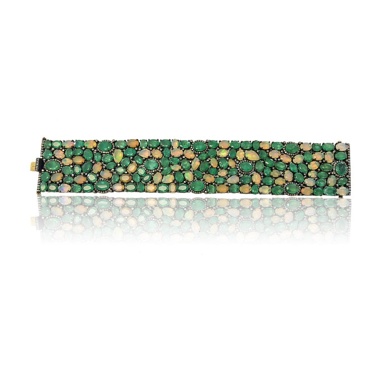 60 Carat Emerald 26 Carat Opal 1 Carat Diamond Art Deco Silver and Gold Bracelet For Sale 1