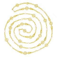 60 Inch Antique Pearl set Gold Filigree Chain Necklace