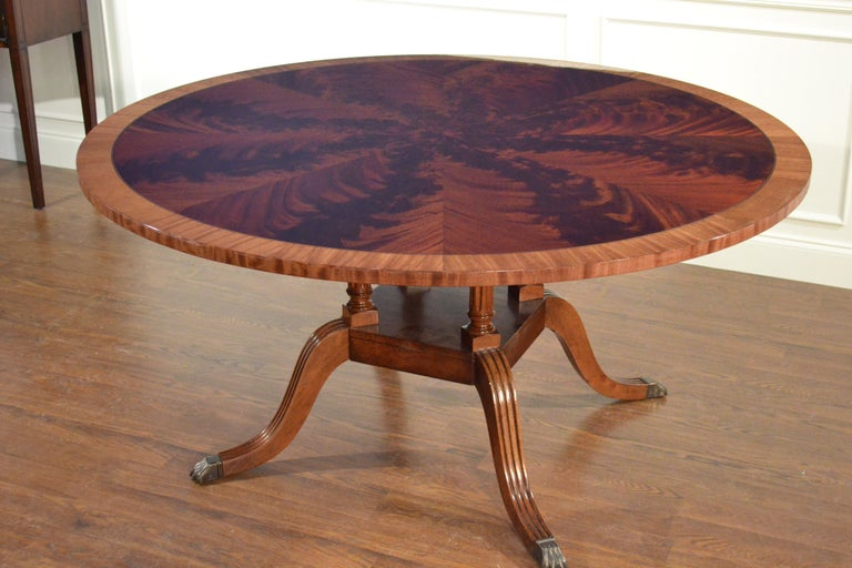 American Round Mahogany Georgian Style Pedestal Dining Table by Leighton Hall For Sale