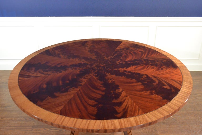 Round Mahogany Georgian Style Pedestal Dining Table by Leighton Hall In New Condition For Sale In Suwanee, GA