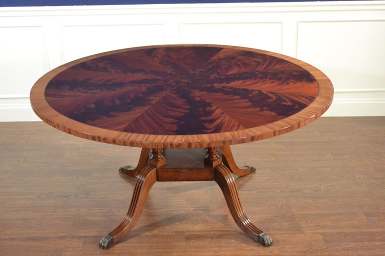 Round Mahogany Georgian Style Pedestal Dining Table by Leighton Hall For Sale 1