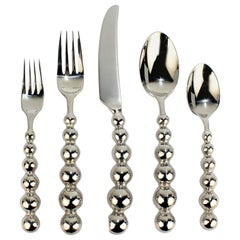 60 Pc Space Age Galaxy Pattern Stainless Steel Flatware Set by Cambridge for 12