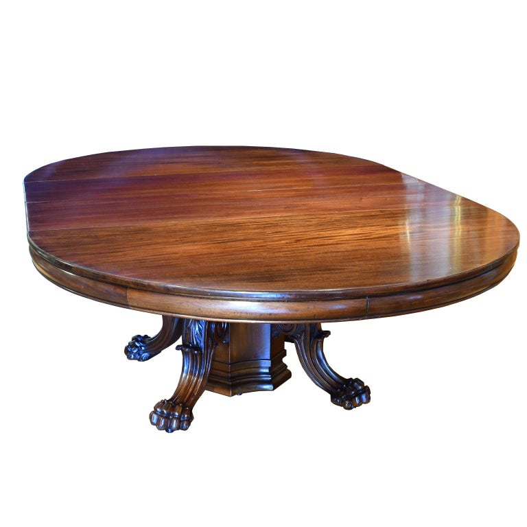 "Long Dining Tables For Sale: 60"" Round Extension Dining Table W Pedestal Opening To 11"
