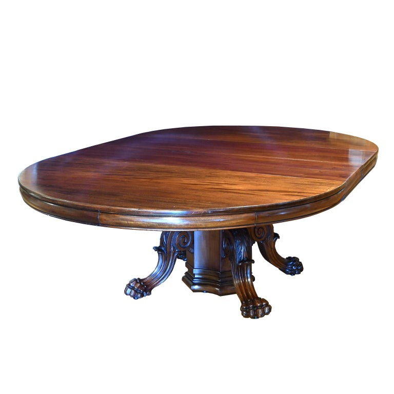 "60"" Round Extension Dining Table w Pedestal Opening to 11' long, American,c 1880 For Sale"