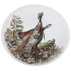 1960s Oval Porcelain English Plate by Johnson Brothers Game Birds Hand Painted