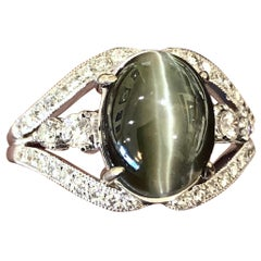 6.00 Carat Alexandrite Diamond 18 Karat Gold Engagement Ring