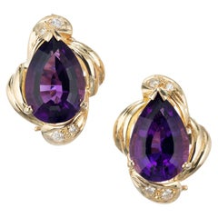 6.00 Carat Amethyst Diamond Yellow Gold Clip Post Earrings