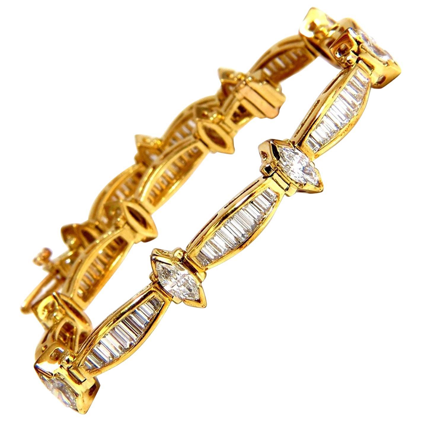 6.00 Carat Baguettes Marquise Diamond Tennis Bracelet 18 Karat G/Vs