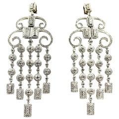 White Diamond, 18 Karat White Gold Art Deco Style Chandelier Earrings, 6.00 TCW