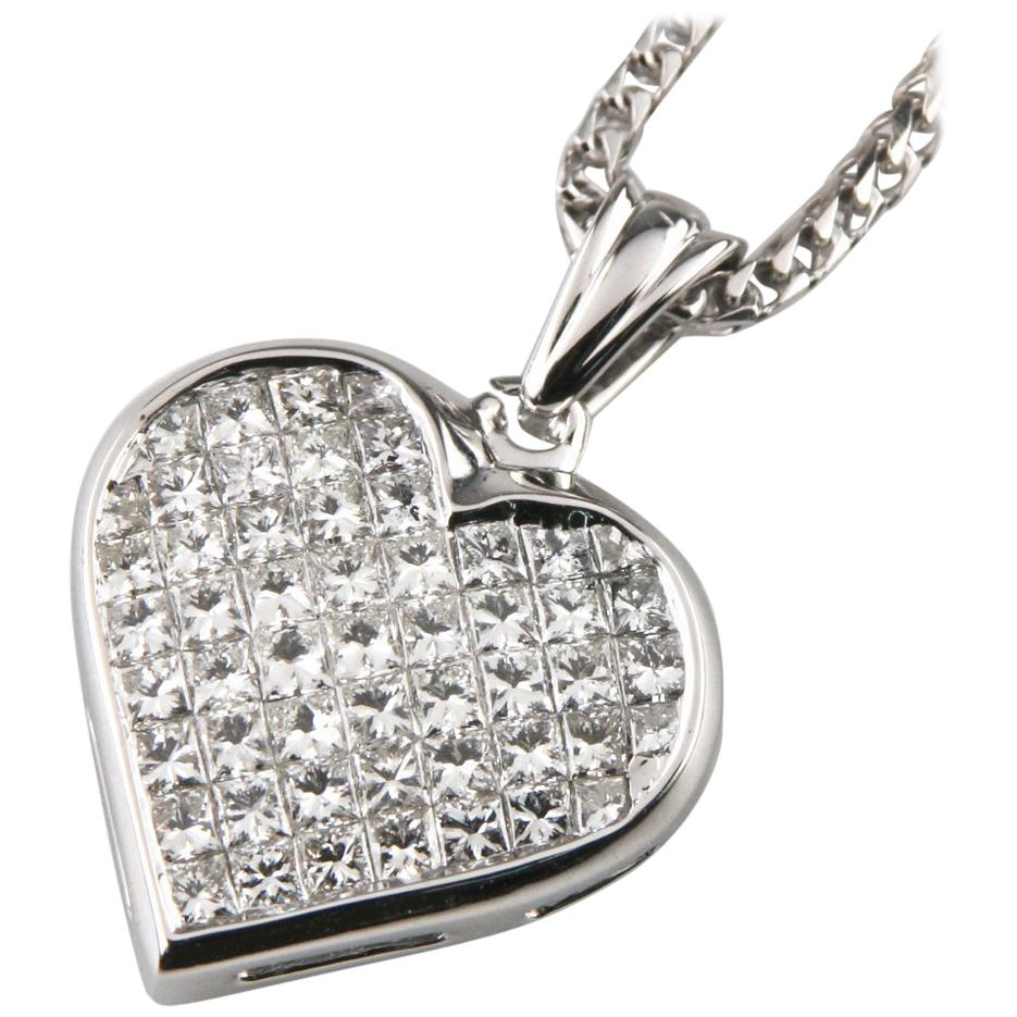 6.00 Carat Diamond 18k White Gold Heart Pendant w/ 14k White Gold Franco Chain