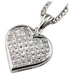 6.00 Carat Diamond 18k White Gold Heart Pendant w/ 14k White Gold Franco Chain