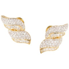 6.00 Carat Diamond Yellow Gold Dangle Swirl Earrings