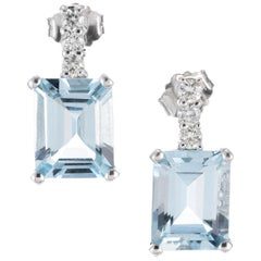 6.00 Carat Emerald Cut Aquamarine White Gold Diamond Dangle Earrings