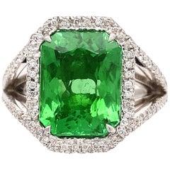 6.00 Carat Green Paraiba Tourmaline Diamond Platinum Ring Estate Fine Jewelry