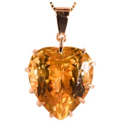 60.0 Carat Natural Citrine Heart Shape Pendant Yellow Gold 14 Karat 20.20 Grams