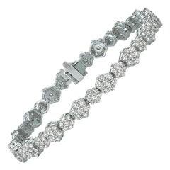 6.00 Carat Natural Diamond Bracelet G SI 14 Karat White Gold
