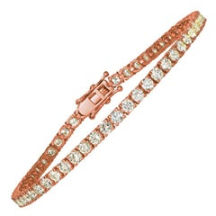 6.00 Carat Natural Diamond Tennis Bracelet G SI 14 Karat Rose Gold