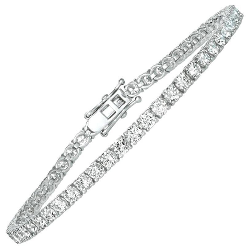 6.00 Carat Natural Diamond Tennis Bracelet G SI 14 Karat White Gold