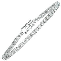 6.00 Carat Natural Diamond Tennis Bracelet G SI 14 Karat White Gold