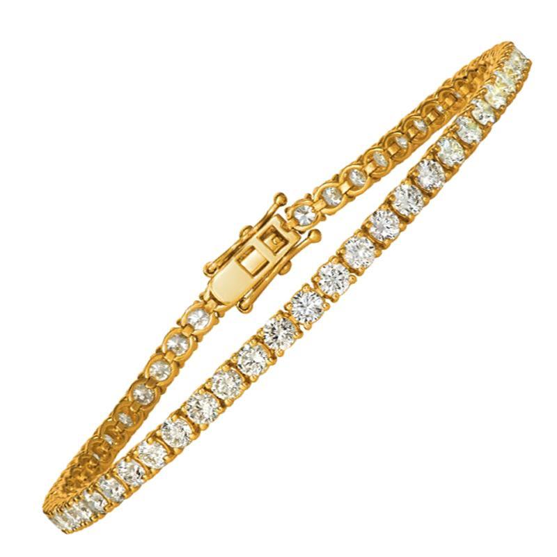 6.00 Carat Natural Diamond Tennis Bracelet G SI 14 Karat Yellow Gold