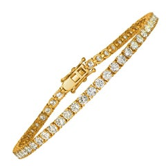 6.00 Carat Natural Diamond Tennis Bracelet G SI 14 Karat Yellow Gold