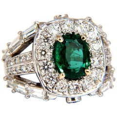 6.00 Carat Natural Vivid Bright Green Emerald Diamonds Ring 14 Karat