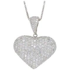 6.00 Carat Pave Set Diamond Heart Pendant